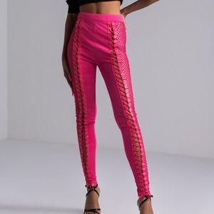 Women's lace up pants leggings pink SzM New